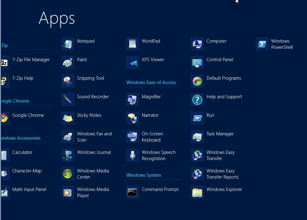 apps on windows 9