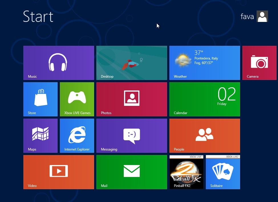 Metro interface windows 8